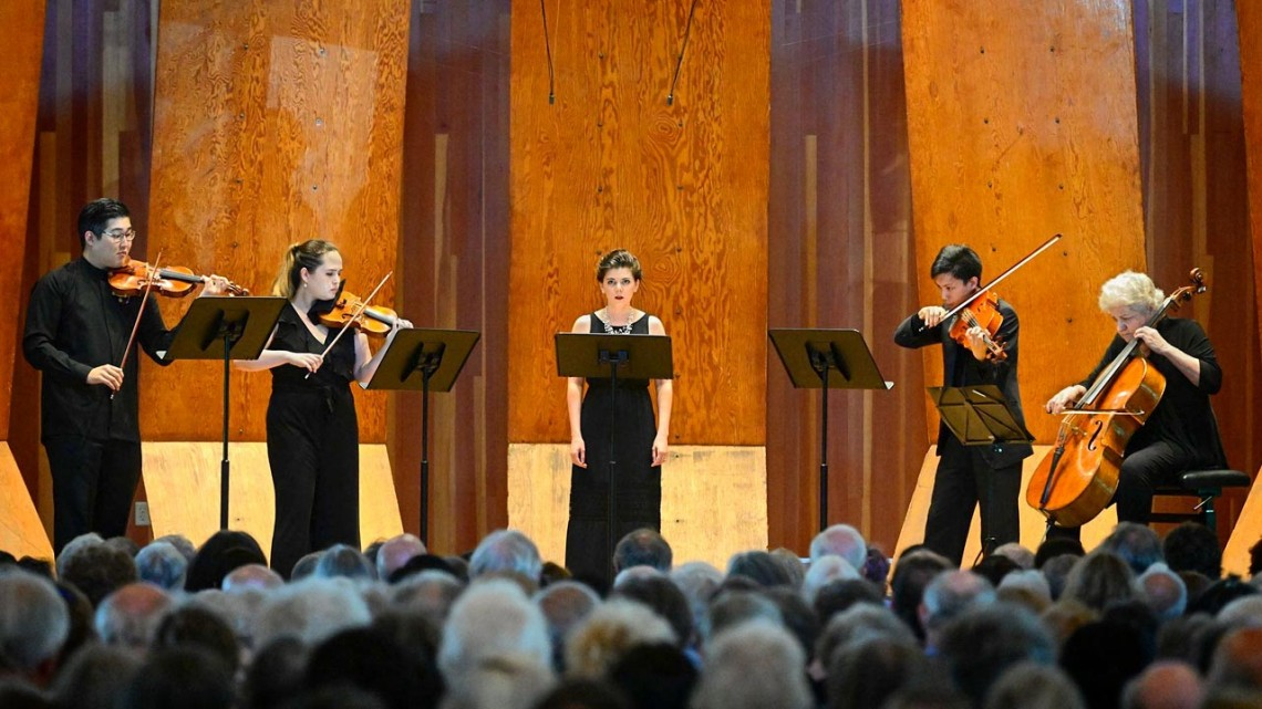 Lucy Fitz Gibbon, center, interim director of the Cornell Voice Program, performs at the 2019 Marlboro Music Festival.